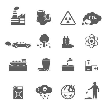 arbol de problemas: iconos blancos problemas de ecología conjunto negro con símbolos de contaminación de ilustración vectorial aislados plana