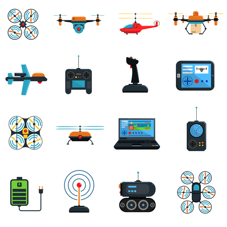 helicopter: Drones icons set with laptop helicopter and plane flat isolated vector illustration