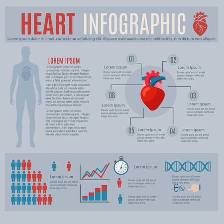 heart attacks: Human heart infographics with body silhouette and charts vector illustration Illustration
