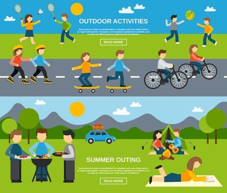 familia pic nic: Outing banner horizontal establece con actividades al aire libre aislado ilustraci�n vectorial