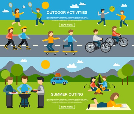 family man: Outing horizontal banner set with outdoor activities isolated vector illustration
