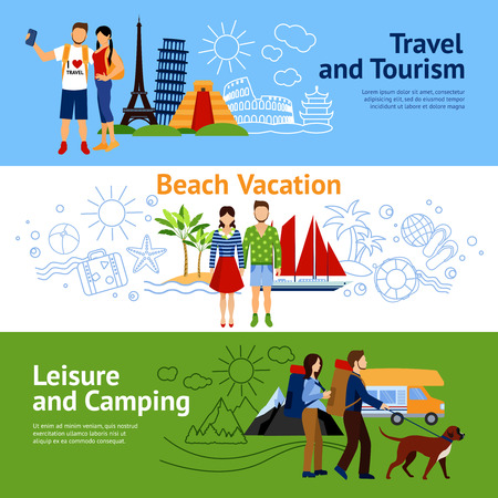 couple hiking: Horizontal flat banners set with three concepts travel and tourism beach vacations leisure and camping vector illustration Illustration