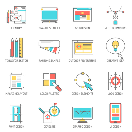designer: Designer icons line set with graphics tablet identity and branding symbols isolated vector illustration