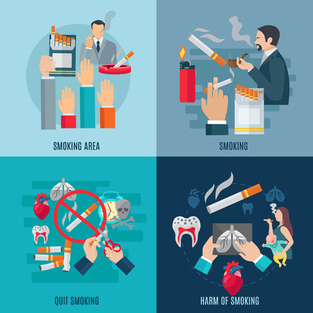quit smoking: Smoking design concept set with harm and danger flat icons isolated vector illustration Illustration