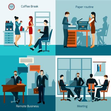 Kantoormedewerkers ontwerpconcept set met zakelijke bijeenkomst en werken routine iconen vector illustratie