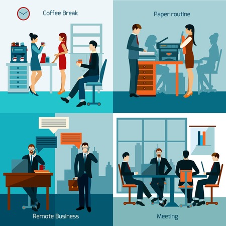 working in office: Office workers design concept set with business meeting and working routine icons isolated vector illustration Illustration