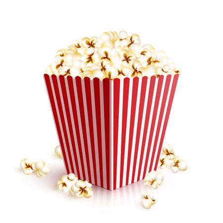 popcorn: Realista de cuatro cuadrado cubo de papel llena de ilustraci�n vectorial de palomitas de ma�z