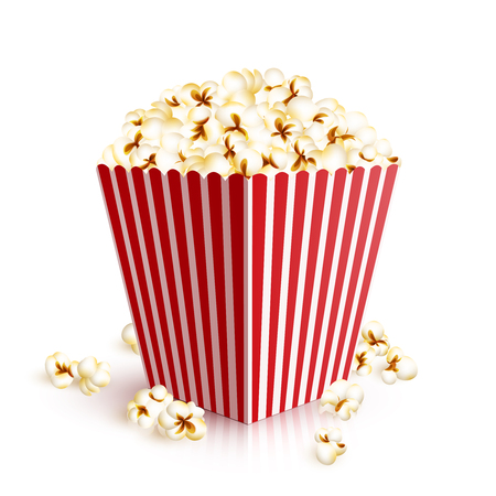 popcorn: Realistic four squared paper bucket full of popcorn vector illustration