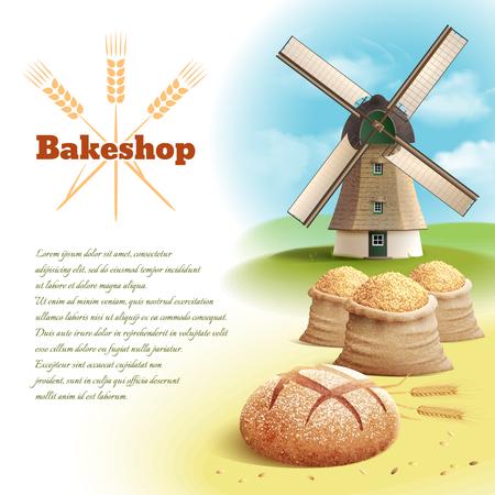 古いスタイルの国の風車、小麦収穫ベクトル イラストとパンの背景
