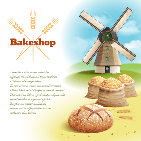 windmills: Bread background with old style country windmill and wheat harvest vector illustration