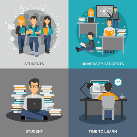 college students: Student design concept set with flat university studying icons isolated vector illustration