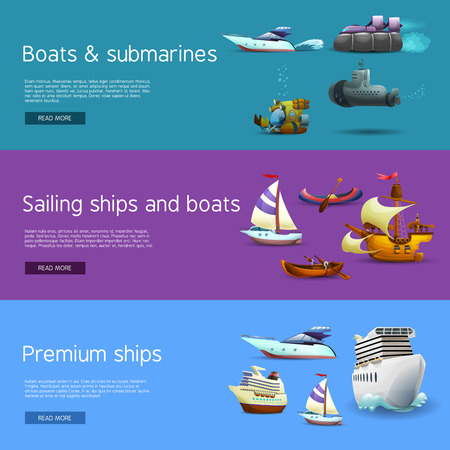 sailing: Ships and boats realistic horizontal banners set with submarines sailing and premium ships isolated vector illustration