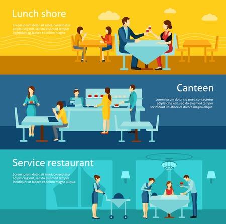 negocios comida: Restaurante Catering y cantina recién cocinado platos calientes de servicio 3 banners horizontales planas establecer ilustración vectorial abstracto