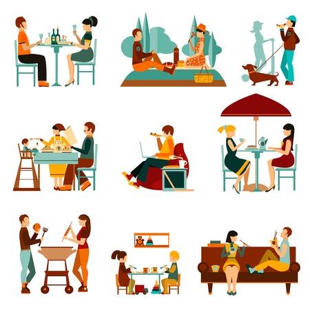 comiendo: La gente comer fuera y un hogares iconos planos del conjunto ilustración vectorial aislado