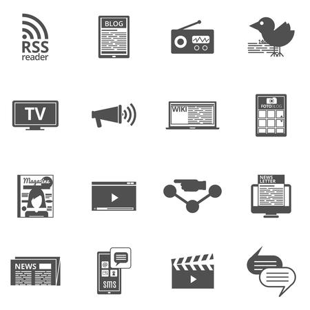 tecnologia di comunicazione dei media di massa nero set di icone con giornale elettronico internet televisione trasmissione astratto illustrazione vettoriale isolato