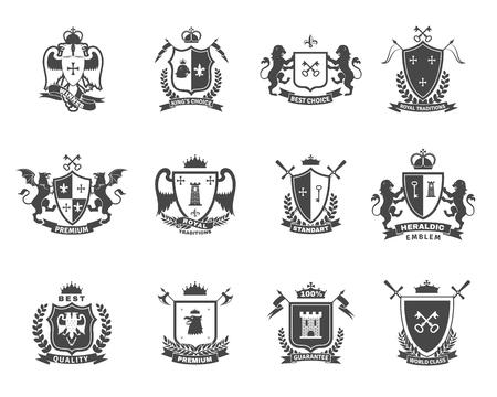 zbraně: Heraldické kvalitní prémiové černá bílá emblémy sada s královským tradicemi symboly plochou izolované vektorové ilustrace