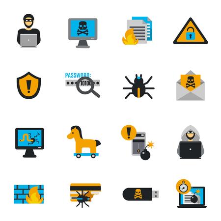 Hacker pictogrammen platte set met spam en cybercriminaliteit symbolen geïsoleerde vector illustratie