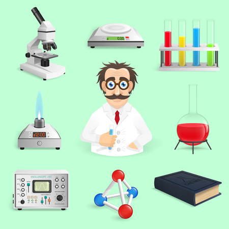 science: Chemistry lab and science icons realistic set isolated vector illustration