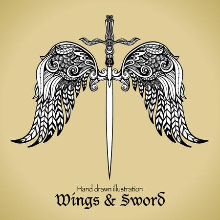 engel tattoo: Retro Schwert mit gotischen Zier Flügel königlichen Emblem Skizze Vektor-Illustration Illustration