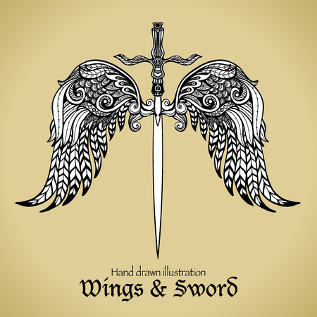 warrior sword: Retro sword with gothic ornamental wings royal emblem sketch vector illustration