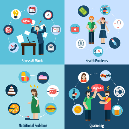 relating: Mental health problems relating to stress at work 4 flat icons composition banner abstract isolated vector illustration Illustration