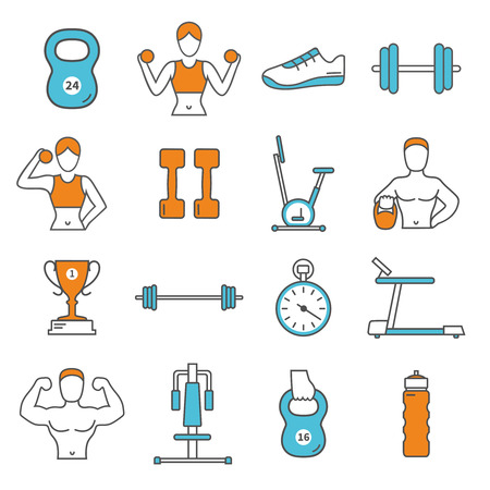 man at the phone: Fitness flat color line icons set with training equipment, athletes and gear isolated vector illustration Illustration
