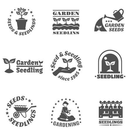 seedling: Seedling farming and garden black label set isolated vector illustration