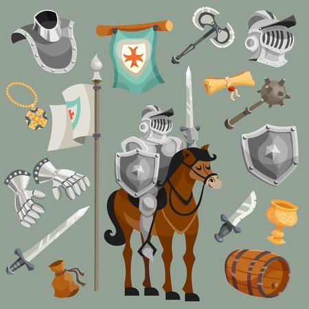 cavaliere medievale: Cavalieri armatura fiaba fumetto icone set illustrazione vettoriale isolato Vettoriali