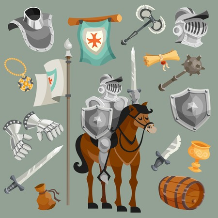 Knights armor fairy tale cartoon icons set isolated vector illustration Çizim