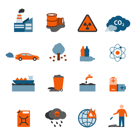 acido: Contaminación y basura iconos conjunto con símbolos aire contaminación del agua y la tierra plana aislado ilustración vectorial Vectores