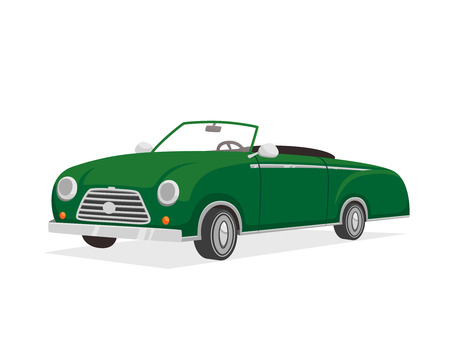 luxurious: Green retro luxurious cabriolet car cartoon isolated vector illustration