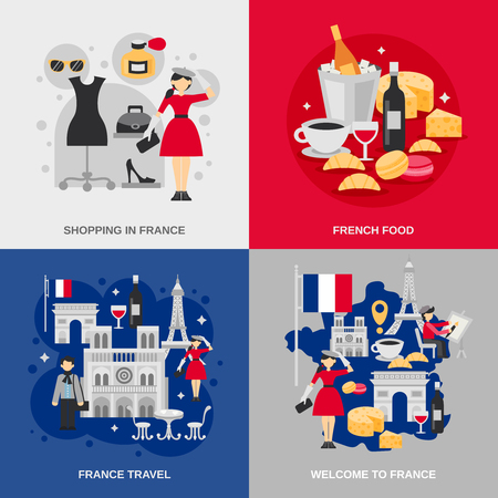 food industry: France design concept set with shopping food and other travel symbols isolated vector illustration