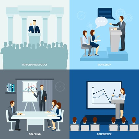 speaking: Presentation coaching workshop for publicly speaking people 4 flat icons square composition banner abstract isolated vector illustration Illustration