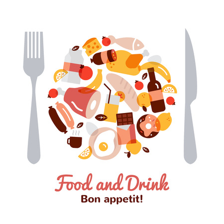 knife fork: Food and drink concept in a plate shape with fork and knife flat vector illustration