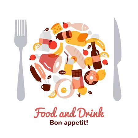 plato de comida: La comida y bebida concepto en una forma de placa con un tenedor y un cuchillo plano ilustración vectorial