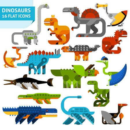 Cute cartoon flat dinosaur animals icons set isolated vector illustration