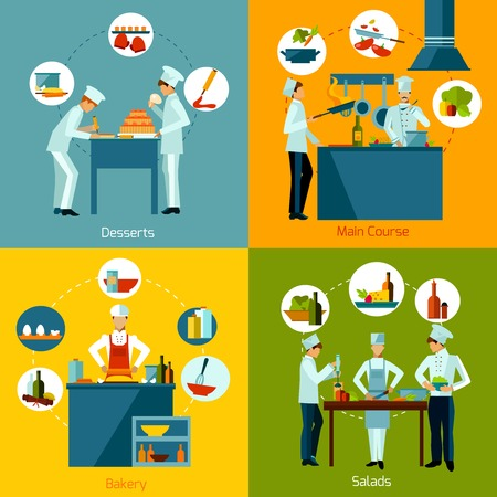 Cooking people making salads main course and bakery design concept set isolated vector illustration Illustration