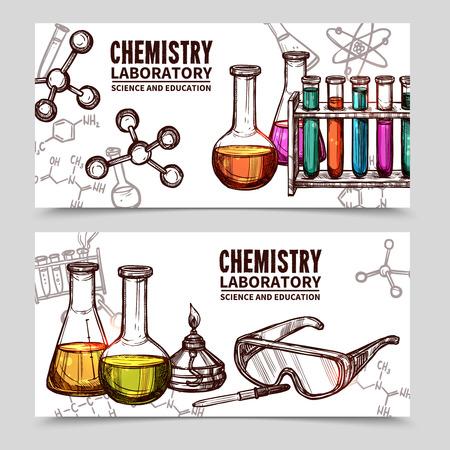 biotecnologia: Dos banderas estilo dibujado a mano con títulos de equipos de laboratorio de química y elementos aislados ilustración del vector