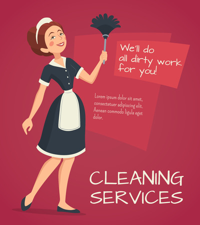 classic house: Cleaning service advertisement with cleaning woman in classic maid dress cartoon vector illustration Illustration