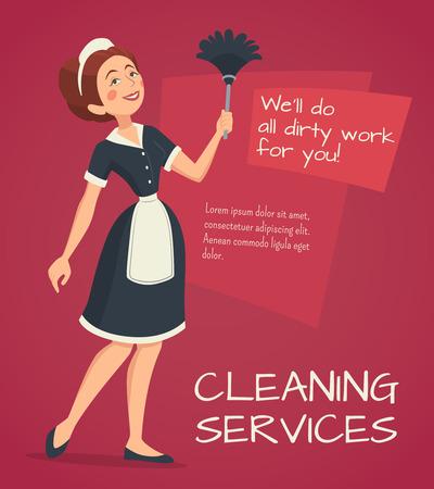 casale: Servizio di pulizia annuncio con donna delle pulizie nel classico abito cameriera fumetto illustrazione vettoriale Vettoriali
