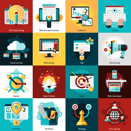 web site: SEO development icons set with website optimization statistics and coding isolated vector illustration
