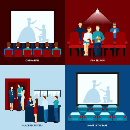 movie theater: Drive-in movie theater and movie hall film show 4 flat icons square banner abstract isolated vector illustration