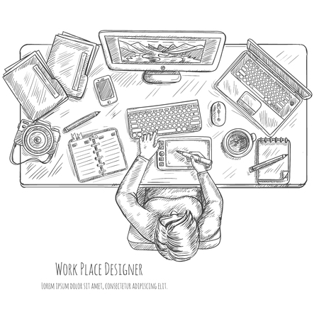 workspace: Designer workplace sketch with woman drawing on tablet top view vector illustration Illustration