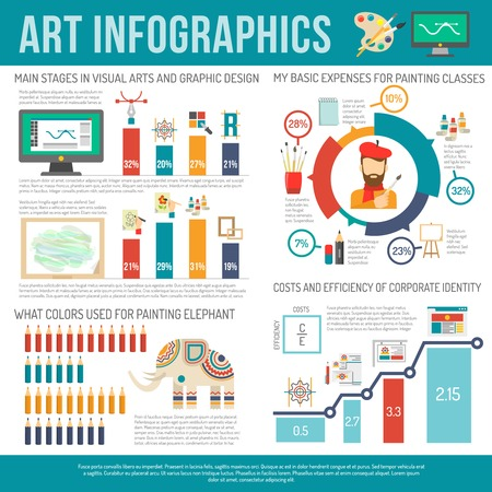 artists: Art infographics set with painter and artist symbols and charts vector illustration