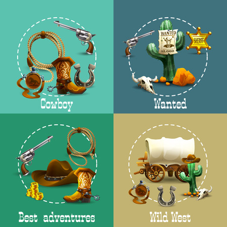 west: Wild west adventures realistic icons set with cowboy and wanted symbols isolated vector illustration Illustration