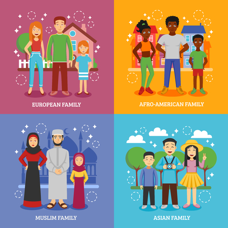 nationalities: National families icons set with European Afro-American Muslim and Asian nationalities flat isolated vector illustration Illustration