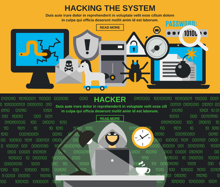 Hacker horizontal banner set with computer system protection elements isolated vector illustration