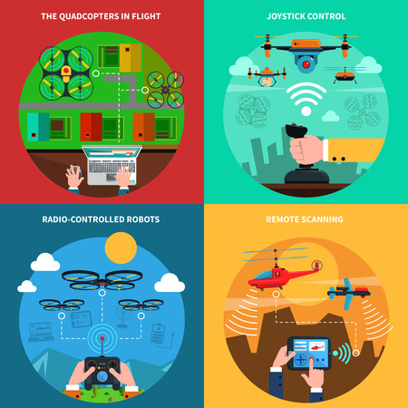unmanned: Quadcopters and drones surveillance and delivery devices 4 flat icons square composition banner abstract isolated vector illustration