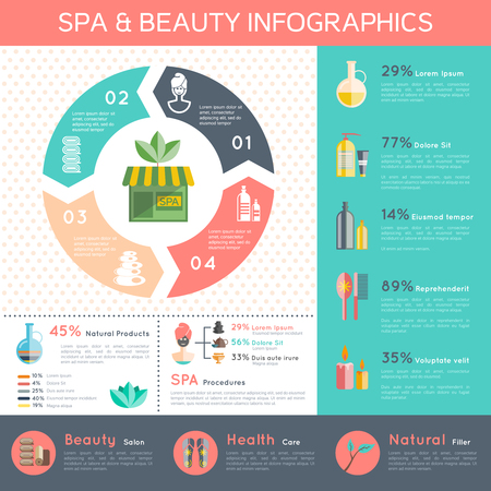 beauty products: Spa and wellness infographic set with health and natural cosmetics symbols flat vector illustration Illustration