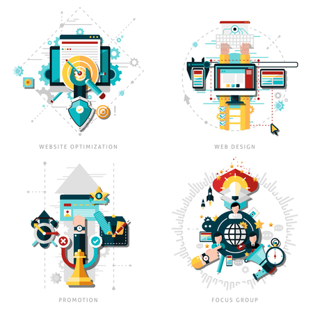 focus: SEO development concept set with website optimization icons flat isolated vector illustration Illustration